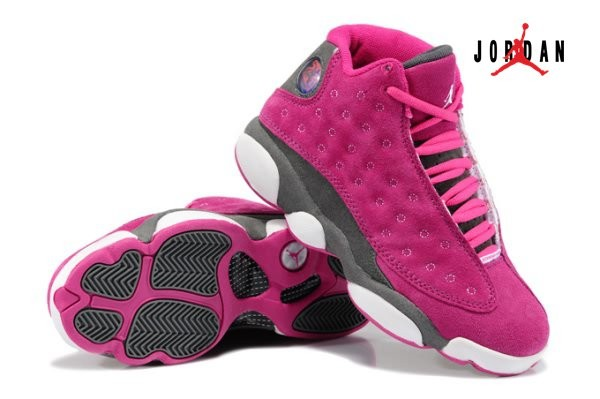 outlet store dbbde 10329 Air Jordan Retro 13 Fur for Women Pink/Grey