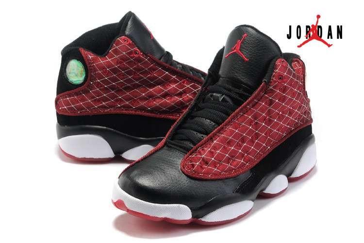 fb21cc61823 Women Air Jordan 13 Black White  Claret Red