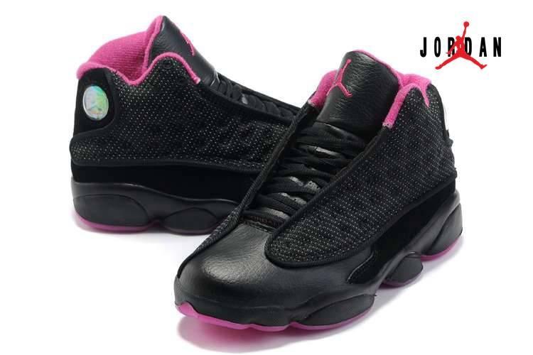 02c322ddc39338 Women Air Jordan 13 Shoes Black Pink