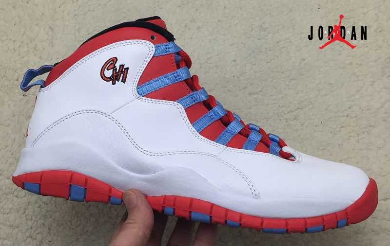 95b9838f84882b Cheap Wholesale Air Jordan 10 Shoes Retro Men White Red Blue