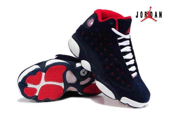 9ea3afc0f405 Air Jordan Retro 13 Fur for Women Dark Blue Red