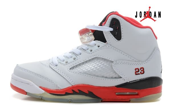 96323fdbaba28a Air Jordan Retro 5 White Black Red for Women