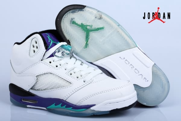 54644b2929628a Air Jordan Retro 5 White Grape Purple Mens Womens shoes
