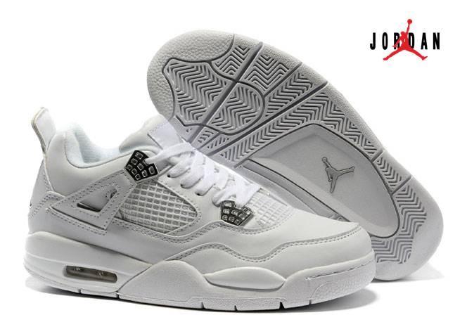 72868aca560 Women Air Jordan 4 White/Metallic Silver